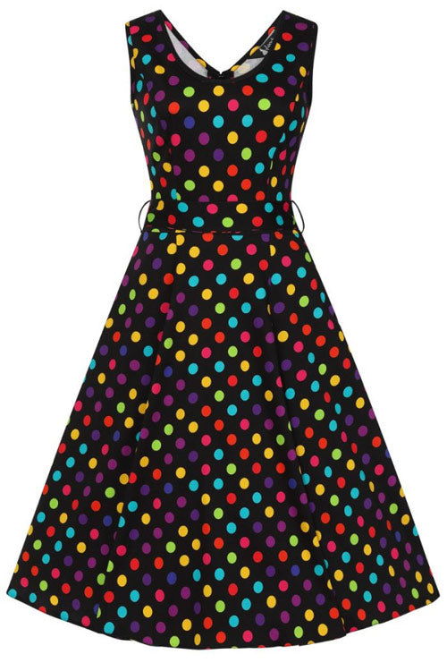 Lady Vintage Charlotte Dress in Party Polka