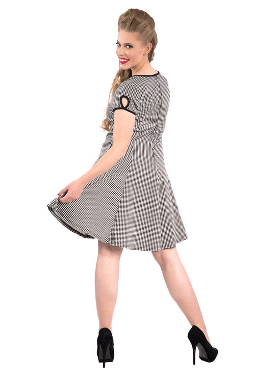 Steady Clothing Charm Me Key Hole A-Line Dress in Small Houndstooth Print