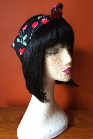 Reversible Wired Headband in Red Cherry & Red