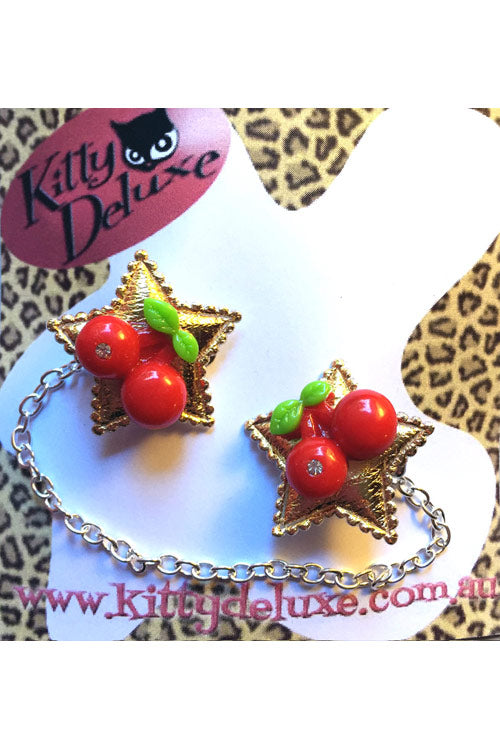 Kitty Deluxe Cardigan Clips in Cherry Star Design