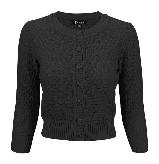 MAK Sweaters Chunky Vintage Knit Cardigan with 3/4 Sleeves in Black