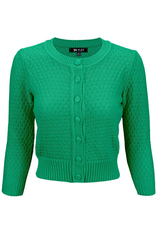 MAK Sweaters Chunky Vintage Knit Cardigan with 3/4 Sleeves in Kelly Green