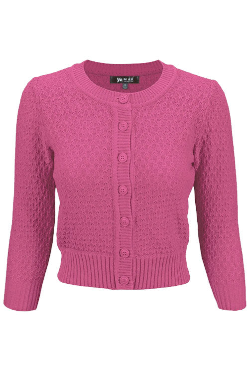 MAK Sweaters Chunky Vintage Knit Cardigan with 3/4 Sleeves in Magenta