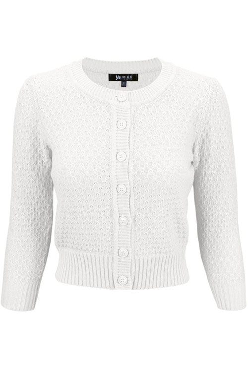 MAK Sweaters Chunky Vintage Knit Cardigan with 3/4 Sleeves in White