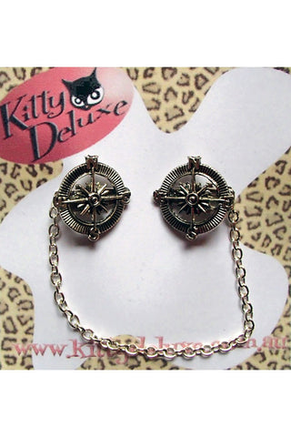 Kitty Deluxe Cardigan Clips in Compass Design