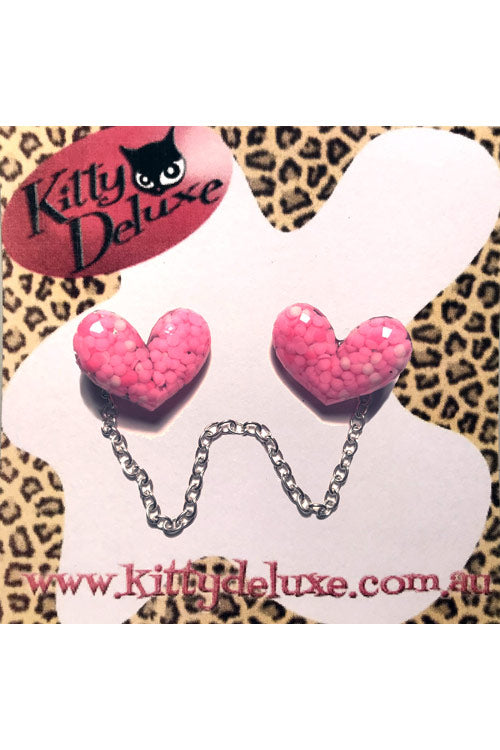 Kitty Deluxe Cardigan Clips in Confetti Heart Design