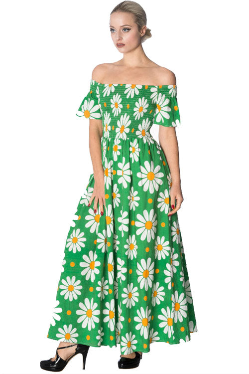 Banned Crazy Daisy Smock Dress in Green