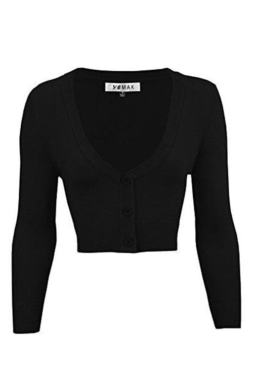 MAK Sweaters Cropped Cardigan with 3/4 Sleeves in Black