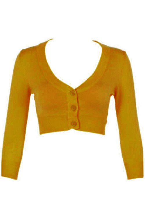 MAK Sweaters Cropped Cardigan with 3/4 Sleeves in Bronze (Mustard)