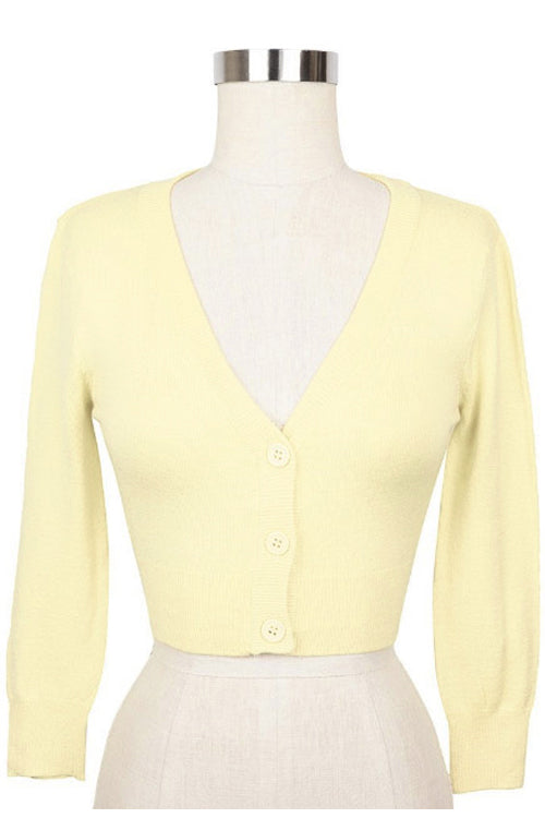 MAK Sweaters Cropped Cardigan with 3/4 Sleeves in Baby Yellow
