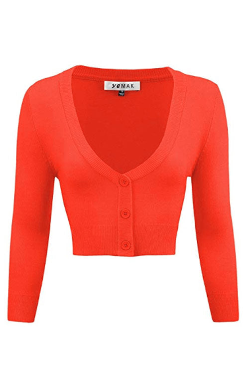 MAK Sweaters Cropped Cardigan with 3/4 Sleeves in Fiesta Orange