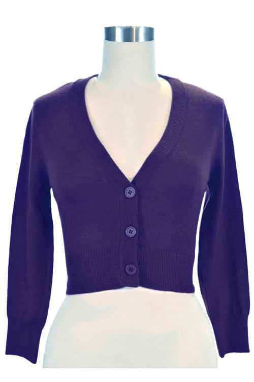 MAK Sweaters Cropped Cardigan with 3/4 Sleeves in Grape