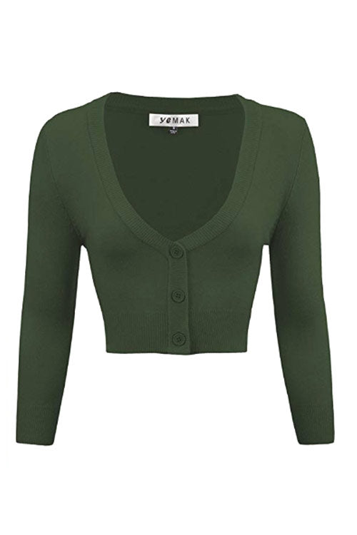 MAK Sweaters Cropped Cardigan with 3/4 Sleeves in Hunter Green