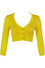 MAK Sweaters Cropped Cardigan with 3/4 Sleeves in Honey Yellow
