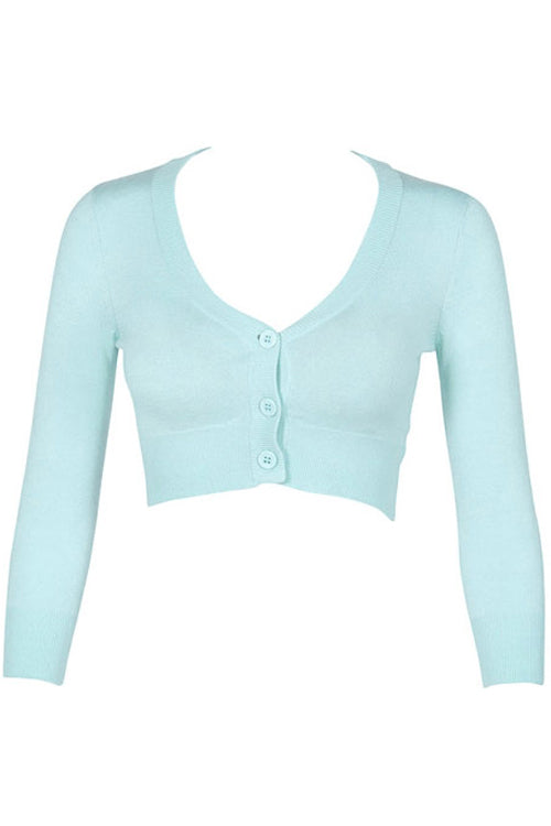 MAK Sweaters Cropped Cardigan with 3/4 Sleeves in Ice Blue