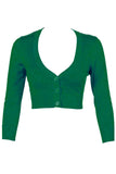 MAK Sweaters Cropped Cardigan with 3/4 Sleeves in Kelly Green