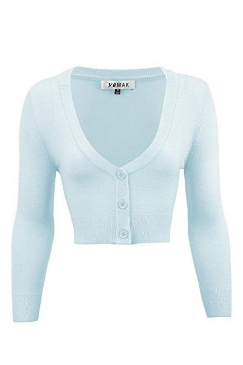 MAK Sweaters Cropped Cardigan with 3/4 Sleeves in Light Blue