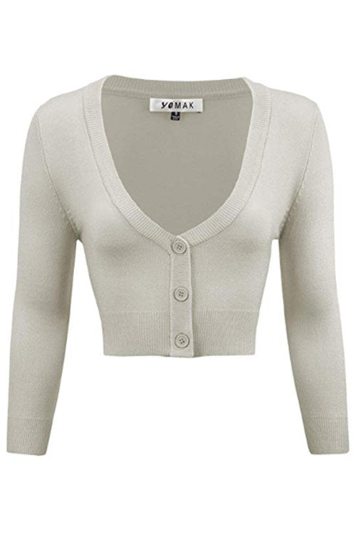 MAK Sweaters Cropped Cardigan with 3/4 Sleeves in Light Grey