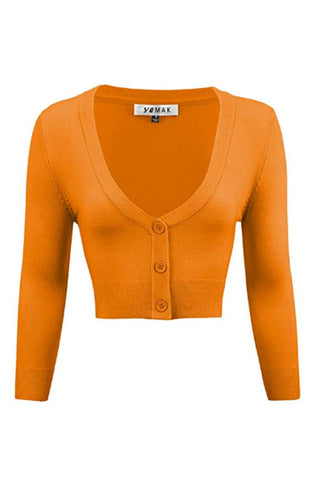 MAK Sweaters Cropped Cardigan with 3/4 Sleeves in Light Orange