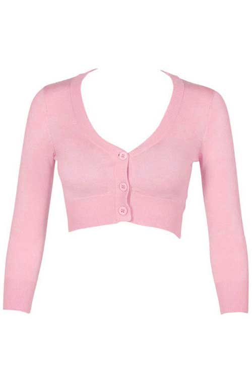 MAK Sweaters Cropped Cardigan with 3/4 Sleeves in Light Pink