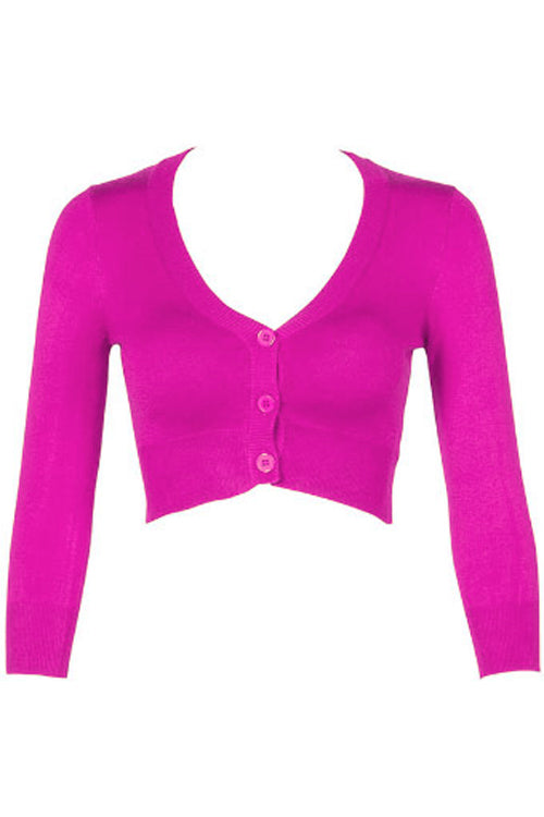 MAK Sweaters Cropped Cardigan with 3/4 Sleeves in Magenta