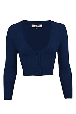 MAK Sweaters Cropped Cardigan with 3/4 Sleeves in Navy
