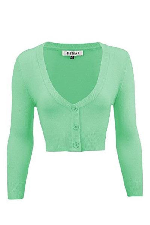 MAK Sweaters Cropped Cardigan with 3/4 Sleeves in Opal Mint
