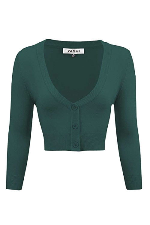 MAK Sweaters Cropped Cardigan with 3/4 Sleeves in Peacock