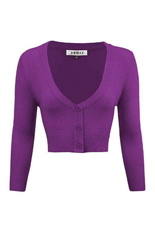 MAK Sweaters Cropped Cardigan with 3/4 Sleeves in Purple