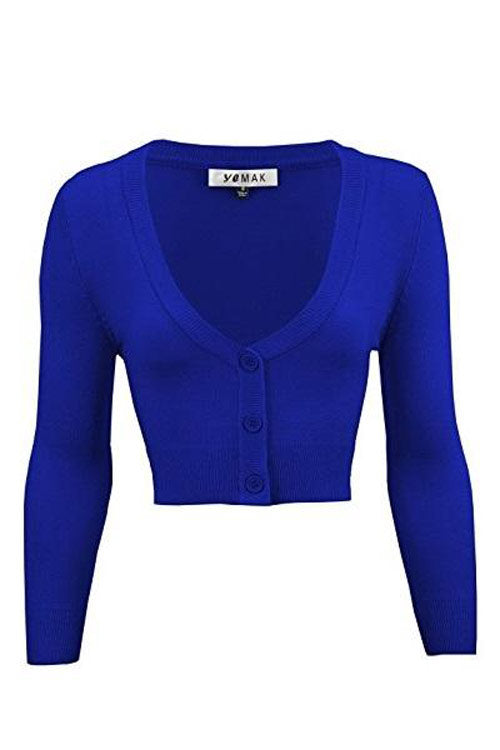 MAK Sweaters Cropped Cardigan with 3/4 Sleeves in Royal Blue