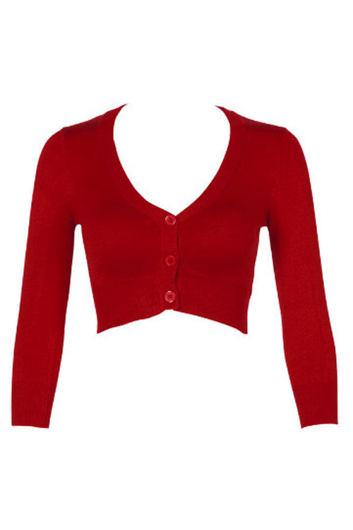 MAK Sweaters Cropped Cardigan with 3/4 Sleeves in Red