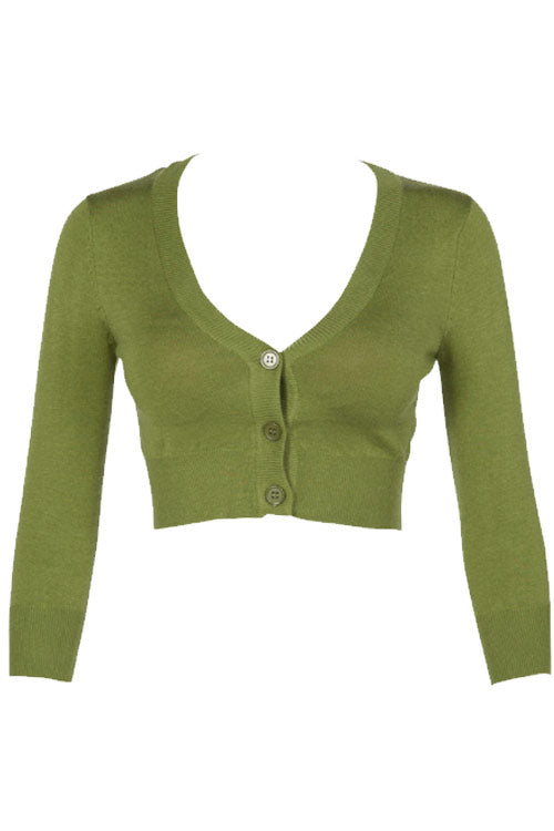 MAK Sweaters Cropped Cardigan with 3/4 Sleeves in Sage