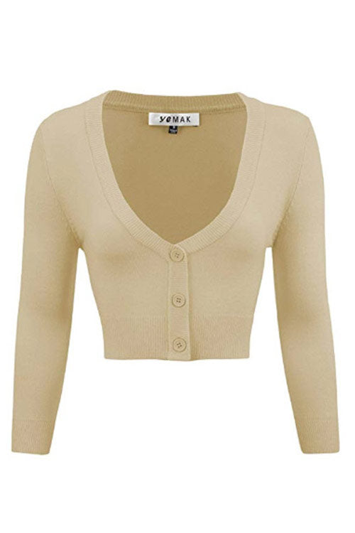 MAK Sweaters Cropped Cardigan with 3/4 Sleeves in Sand/Taupe