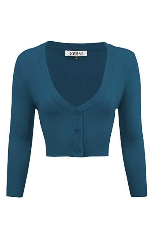 MAK Sweaters Cropped Cardigan with 3/4 Sleeves in Teal Blue