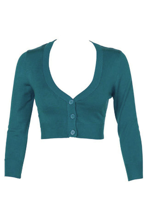 MAK Sweaters Cropped Cardigan with 3/4 Sleeves in Teal