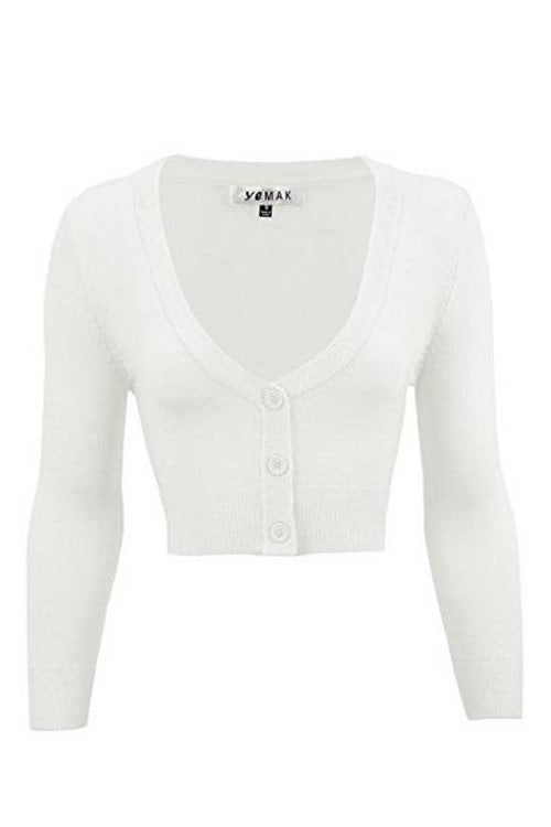 MAK Sweaters Cropped Cardigan with 3/4 Sleeves in White
