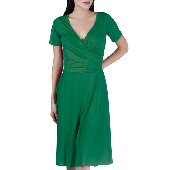 Dolly & Dotty Mia Suri Cross Over Bust Dress in Emerald Green