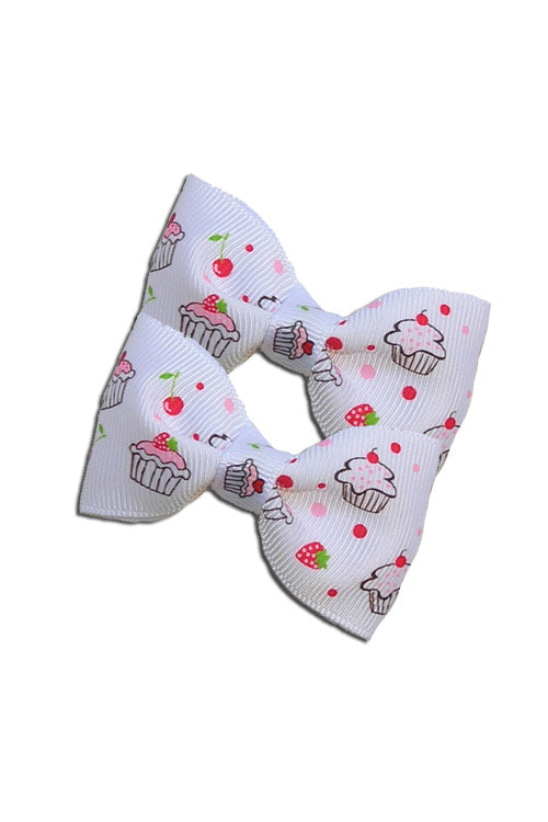 Cupcake Hair Bow Pair in White