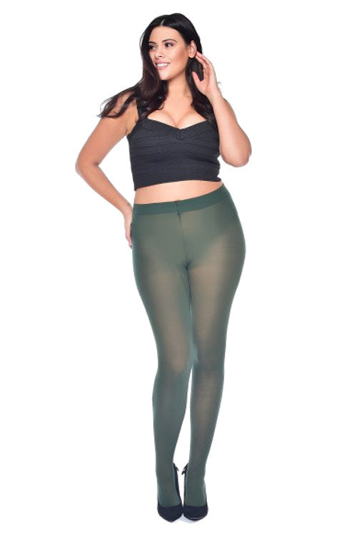 Pamela Mann Hosiery Curvy Super-Stretch 50 Denier Tights in Forest Green