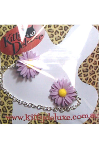 Kitty Deluxe Cardigan Clips in Lavender Daisy Design