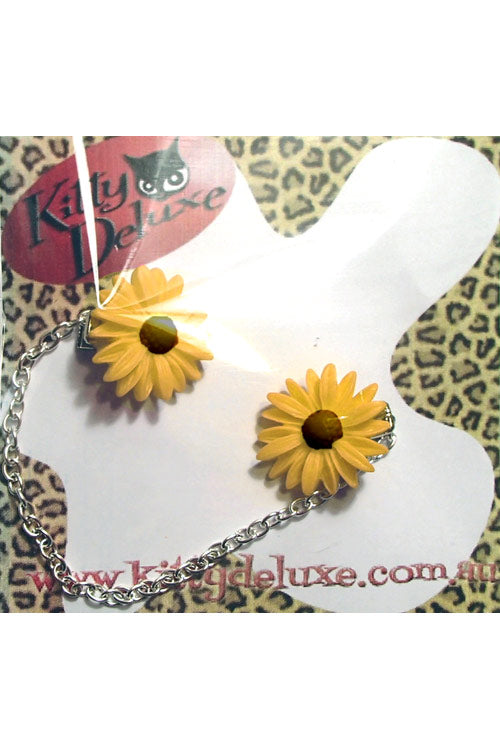 Kitty Deluxe Cardigan Clips in Yellow Daisy Design
