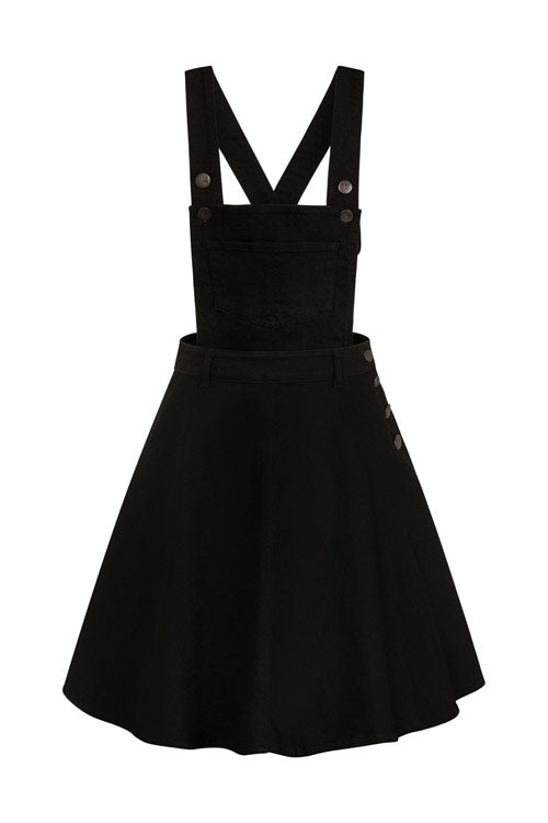 Hell Bunny Dakota Pinafore in Black Denim