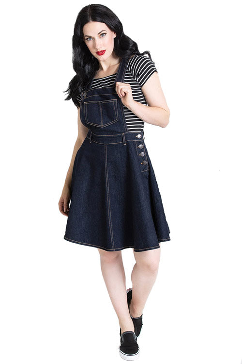 Hell Bunny Dakota Pinafore Dress in Navy Denim