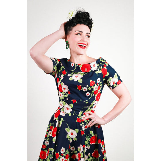 Dolly & Dotty Darlene Dress in Red and Navy Poppy Floral Print
