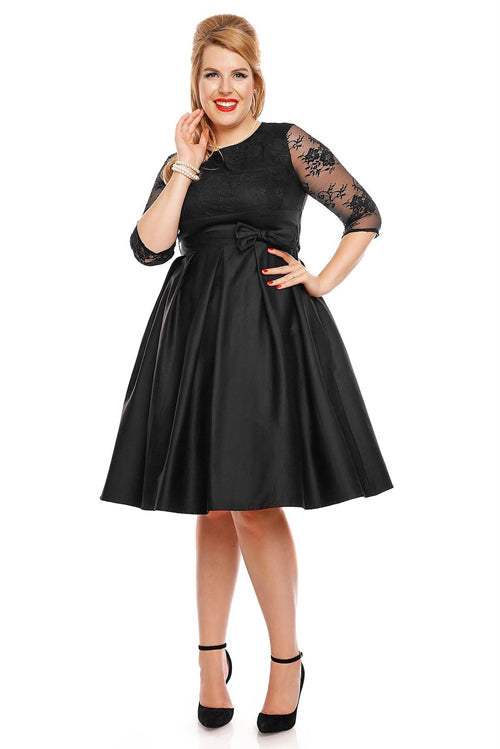 Dolly & Dotty Diane Dress in Black with Lace