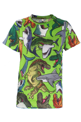 Offend My Eyes Mens Dino Vs Shark T-Shirt in Green