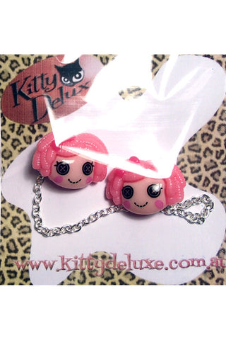 Kitty Deluxe Cardigan Clips in Candy Pink Dollies Design