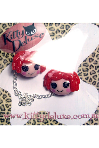 Kitty Deluxe Cardigan Clips in Red Dollies Design