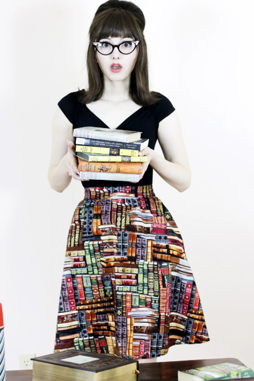 Retrolicious A-Line Skirt in Don't Judge a Book by its Cover