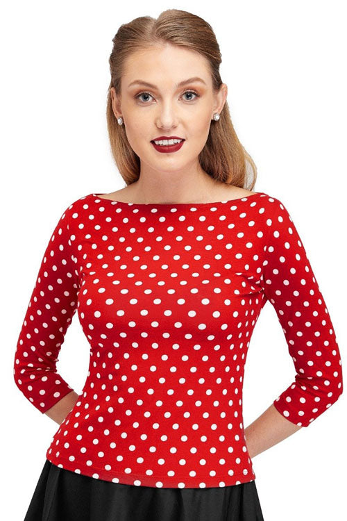 Dolly & Dotty Donna Long Sleeve Bateau Neck Top in Red & White Polka Dots